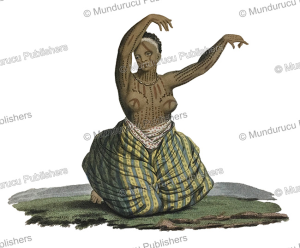 dancing girl from maui, hawaii, jacques arago, 1820