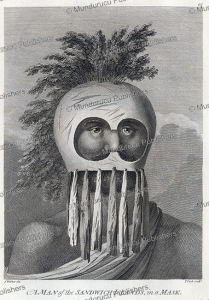 warrior or priest with a makini mask, hawaii, john webber, 1784