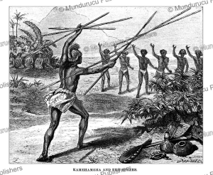 A game or ritual of Kamehameha and the spears, Hawaii, Johann Baptist Zwecker, 1870 | Photos and Images | Travel