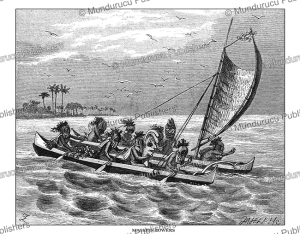 Hawaiian masked rowers with their war-god, Johann Baptist Zwecker, 1871 | Photos and Images | Travel