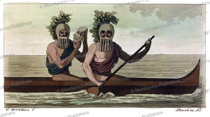 masked rowers of the sandwich islands, hawaii, carlo bottiglia, 1816
