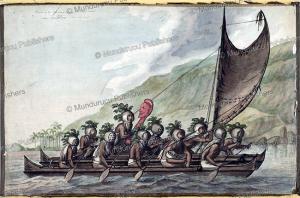 rowers in makini masks with the god ku¯, hawaii, john webber, 1784