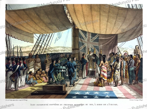 the baptism of the first minister of hawaii, jacques arago, 1822