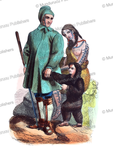 chukchi family with tattooed man and woman, m. deley, 1843
