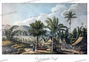 javanese village (kampong), j. schiess, 1829