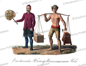 chinese marchant and his coolie, java, j. schiess, 1829