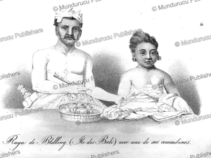 raja buleleng of bali with one of his concubines, m.m. raffles, 1824