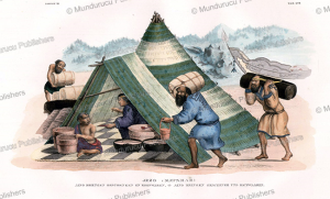 ainu traders on the japanese island of jezo, j. erxleben, 1831