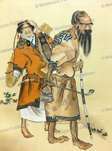 ainu hunter with his wife, david mac ritchie, 1892