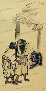 two hairy ainu making conversation, david mac ritchie, 1892