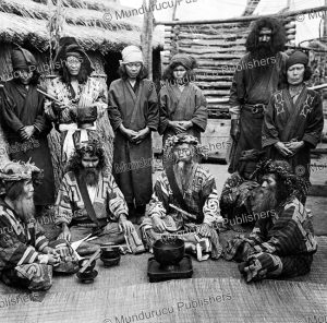 ainu men in feast attire, h. c. white, 1903