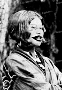 ainu girl with mouth tattoo, 1964