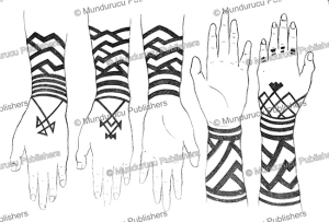 female ainu arm tattoo patterns, 1880