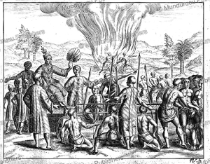execution of the families of traiters by the king of pegu, now bago in burma, 1604