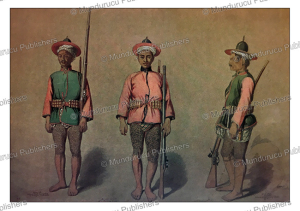 burmese infantry soldiers with tattooed legs at amarapura (mandalay), burma, colesworthy grant, 1855