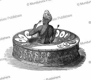 burmese drumharmonica, the pattshainge, but with small gongs, burma, henry yule, 1855