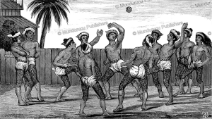 tattooed burmese boys playing soccer, albert fytche, 1878