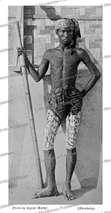 burmese native with tattooed legs, felice beato, 1885