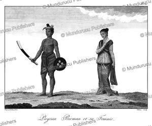 Armed Burmese farmer and his wife, Birma, Tardieu L'ai^ne´, 1800 | Photos and Images | Travel