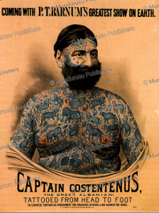 costentenus with burmese tattoos on a poster for the p. t. barnum circus, c. 1890