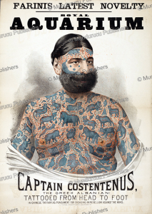 Captain Constentenus, the tattooed Albanian with Burmese designs, c. 1890 | Photos and Images | Travel