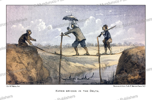 A Karen bridge in the delta, Burma, Mc. Mahom, 1876 | Photos and Images | Travel
