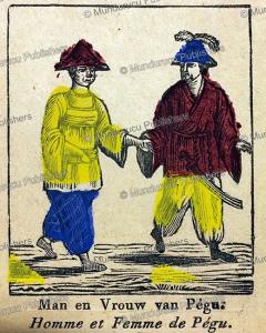 man and woman of pegu (burma), a. cranendoncq, 1850
