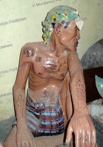 burmese man of plaster with tattoo designs, 1990