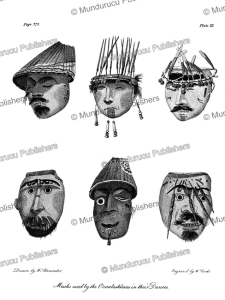 masks used by the indians of unalaska in their dances, alaska, w. alexander, 1802