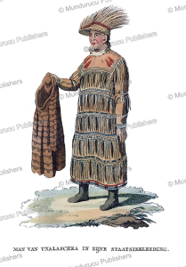man of unalaska in tradtional dress, alaska, woronin, 1808