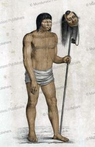 mundurucu´ warrior with head trophy, brazil, spix and martius, 1823