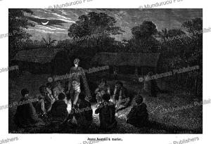 young mundurucu´ man undergoing a pre-marriage ritual, e´douard riou, 1850