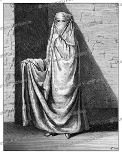 persian woman with veil, cornelis de bruins, 1711