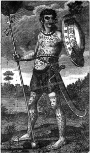 pict man fully tattooed, after theodor de bry