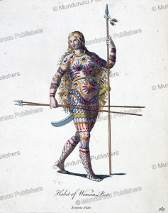 pict woman of roman times with tattoos, britain, gijsbert van veen,  1760