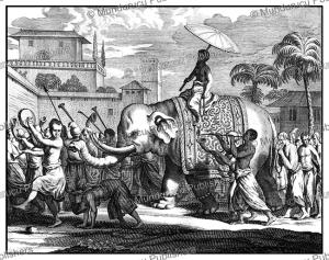 a procession of monks, ceylon (sri lanka), philippus baldaeus, 1672
