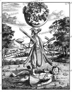 varaha, the boar, the third avatar of the hindu god vishnu, ceylon (sri lanka), philippus baldaeus, 1672