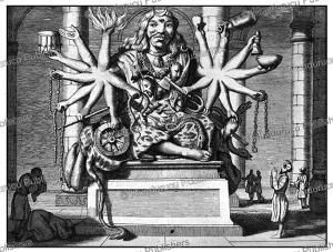 the hindu god ixora or shiva, ceylon (sri lanka), philippus baldaeus, 1672