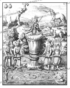 the samudra manthan, an episode in the hindu mythology, ceylon (sri lanka), philippus baldaeus, 1672