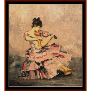 the violinist - w.r. flint cross stitch pattern by cross stitch collectibles
