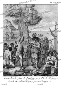 juan de grijalva arrives in tabasco land, southern mexico in 1518, drawn and invented by ildefonso vergaz, 1783