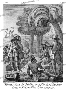juan de grijalva receives the ambassadors of montezuma on the banderas river, drawn and invented by ildefonso vergaz, 1783