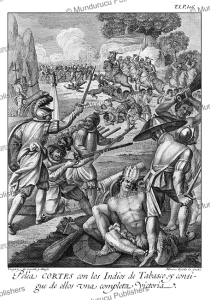 battle scene of corte´s against the indians of tabasco, drawn and invented by ildefonso vergaz, 1783
