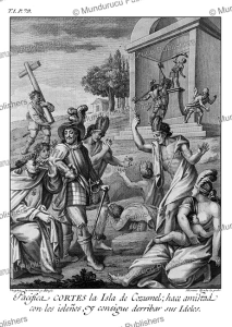 corte´s makes piece with the natives of cozumel whilst tearing down their idols, drawn and invented by ildefonso vergaz, 1783