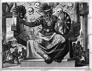 the aztec god tezcatlipoca of mexico, arnoldus montanus, 1671
