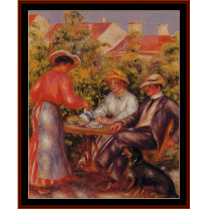 the cup of tea, 1907 - renoir cross stitch pattern by cross stitch collectibles