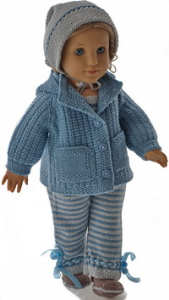 dollknittingpattern 0195d olava- jacket, pants, bonnet and shoes-(english)