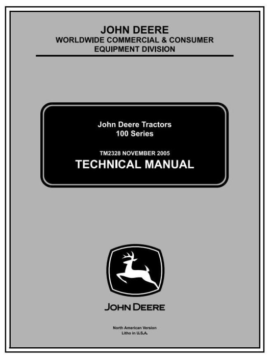 First Additional product image for - John Deere 102, 115, 125, 135, 145, 155C, 190C Lawn, Yard Tractor Technical Service Manual (tm2328cce)