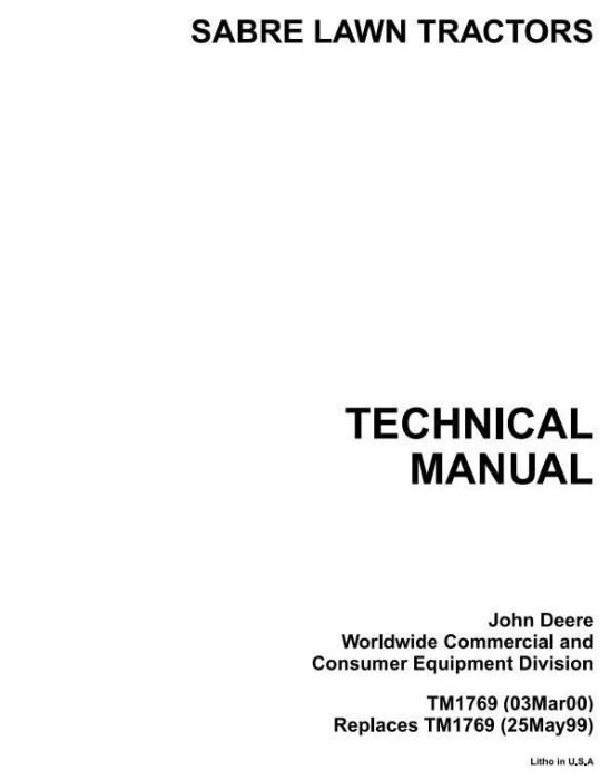 First Additional product image for - John Deere 1438,1538,1542, 15.538,15.542, 1642,1646,1742,1846,2046 Sabre Tractors Technical Manual TM1769