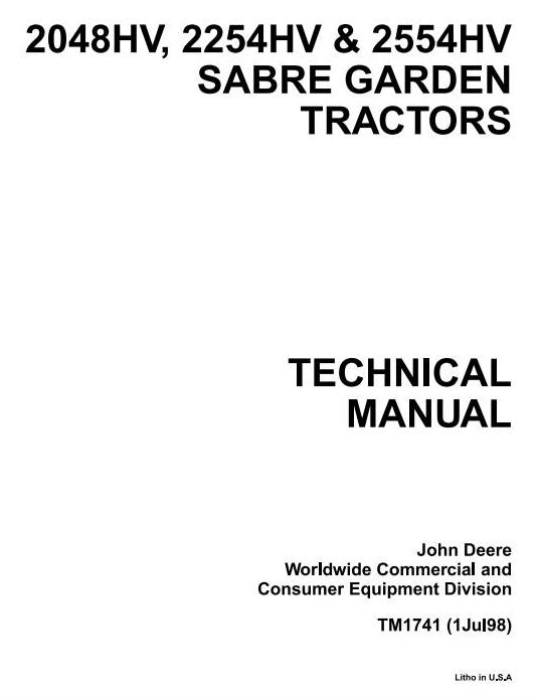 First Additional product image for - John Deere Sabre 2048HV, 2254HV & 2554HV Yard and Garden Tractors Technical Service Manual (tm1741)